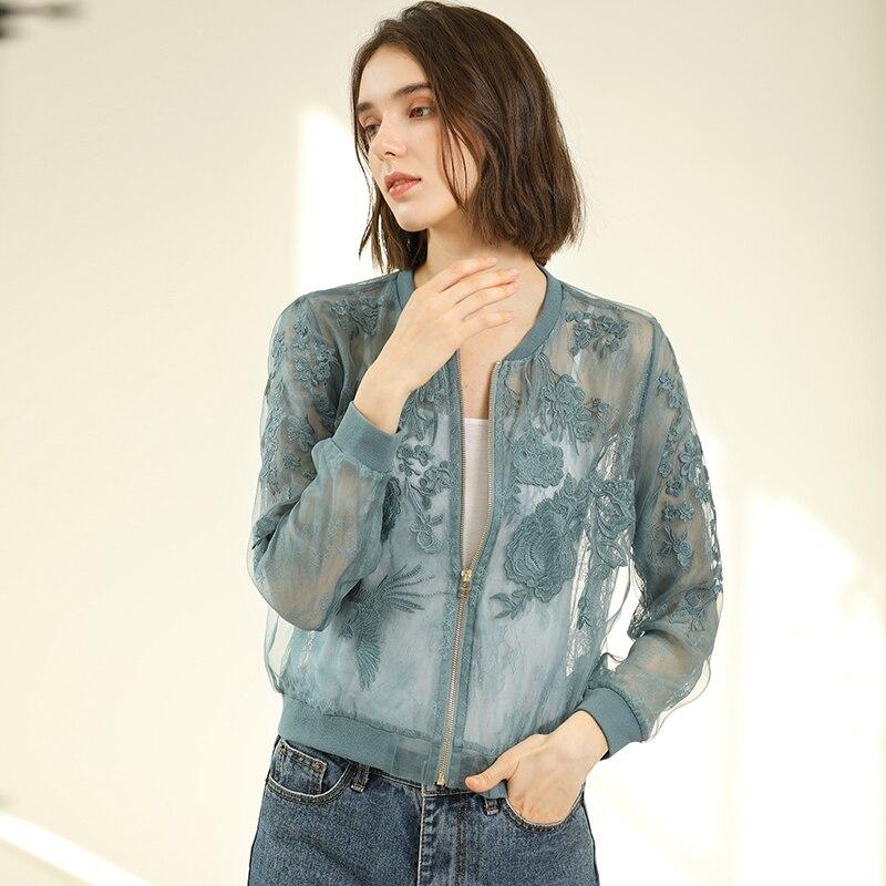 100% Silk Organza Jacket Women Sunscreen Clothing Embroidery Lightweight Fabric Long Sleeve 3 Colors Short Coat Fashion 2019