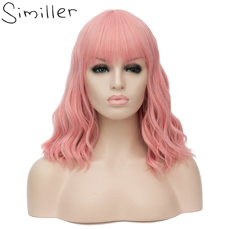 Similler 14 Inches Women Short Curly Synthetic Wig With Air Bangs Pink Heat Resistance Hair