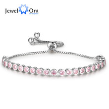 Telescopic Bracelets For Women Pink Cubic Zirconia Fashion Party Accessorise Bracelets & Bangles Gift For Her(JewelOra BA102120)(China)