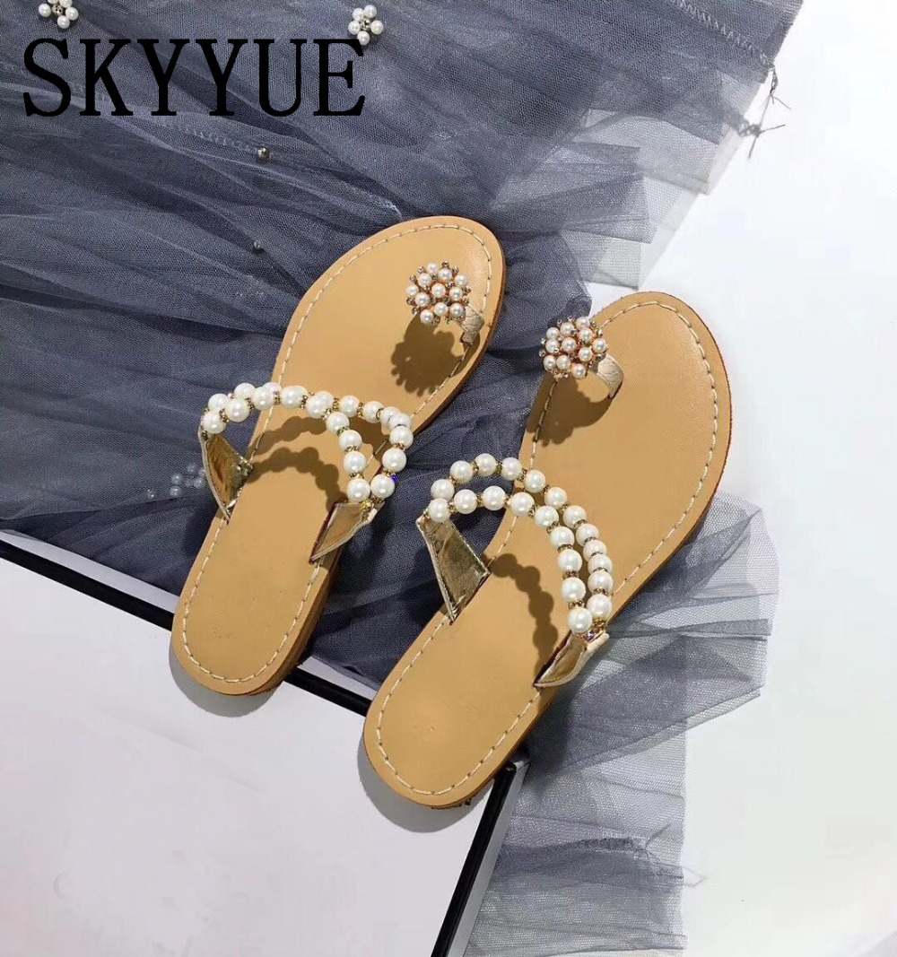 2018 New Nude Genuine Leather Pearl Beading Slippers Spring Summer Beach Shoes Outdoor Casual Women Flats Slippers Mule