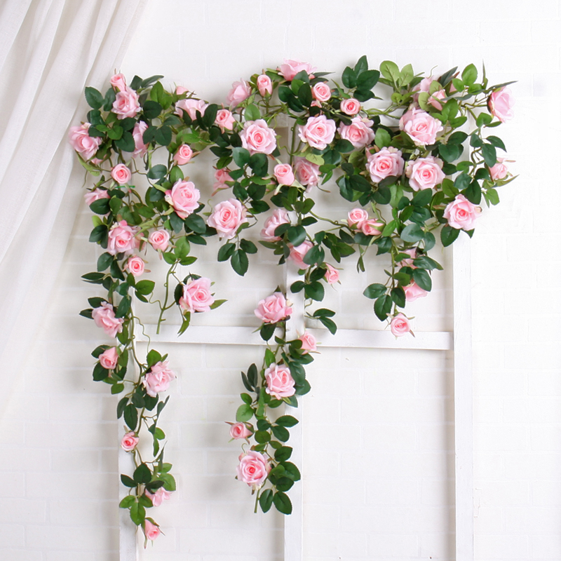 Luxury Artificial Rattan flowers big Fake Rose Ivy Hanging Vine Garland Wedding decoration Party Wreath Real Touch Silk Flowers