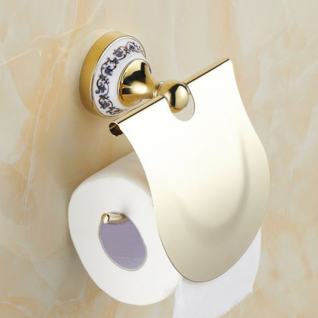 Gold Toilet Paper Holder With Diamond Roll Tissue Bathroom Accessories Products Hanger