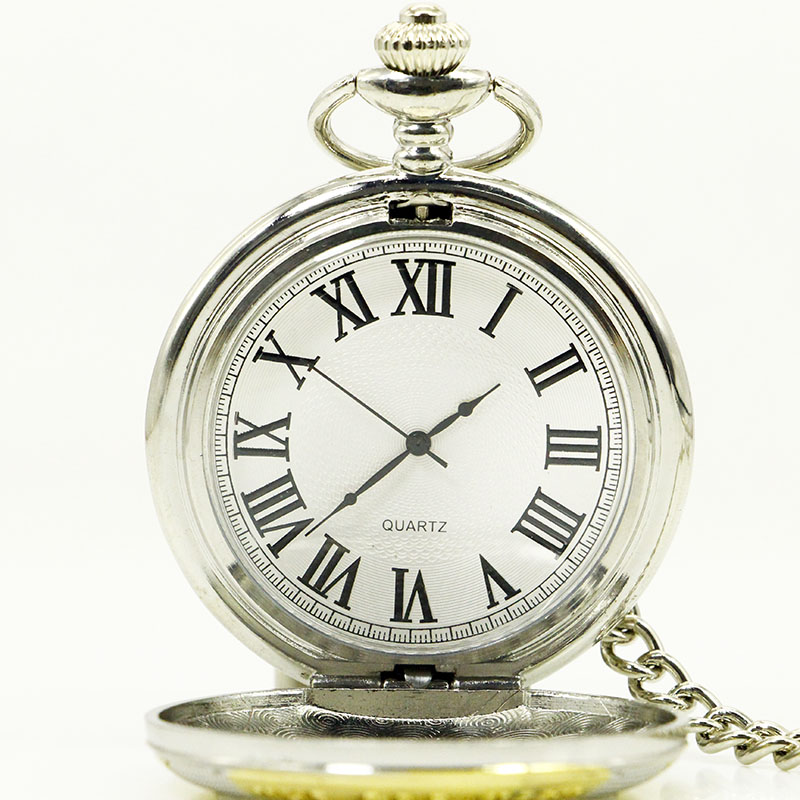 PB022-2016-Silver-Gold-Dad-Pocket-Watch-Necklace-FOB-Chain-Vintage-Watches-Mens-Father-s-Day
