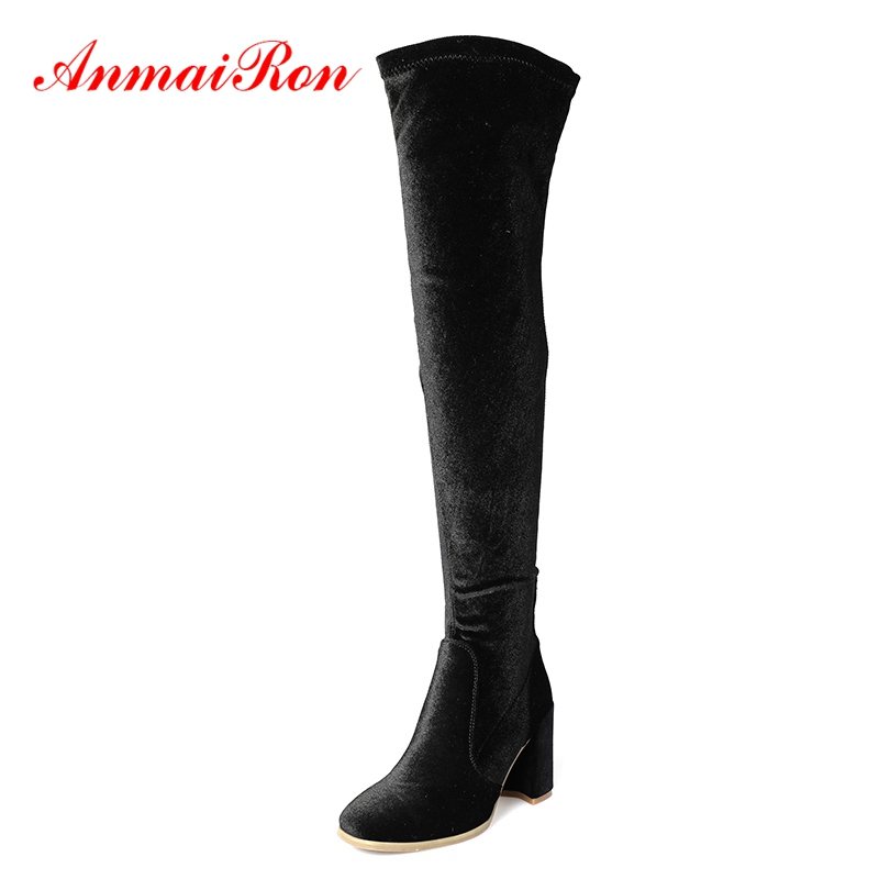 AnmaiRon  Square Toe  Over-the-Knee  Slip-On  Botas Mujer  Women Boots  Winter Boots   Size 34-39 ZYL1435AnmaiRon  Square Toe  Over-the-Knee  Slip-On  Botas Mujer  Women Boots  Winter Boots   Size 34-39 ZYL1435