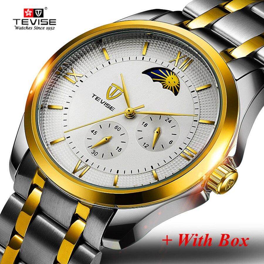 TEVISE Automatic Self-wind Watches Men Luxury Stainless Steel Mechanical Waterproof Watch Moon Phase Male Clock erkek saatleri цена