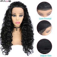 FAVE African Curly Lace Front Long Synthetic Hair Wigs For Women Black Color Brazilian Lace Wig Frontal Heat Resistant Fiber