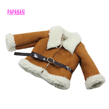 Fashion Brown Dolls Clothes Woolen coat Belt for 18 45CM American Girl Doll Coat as for