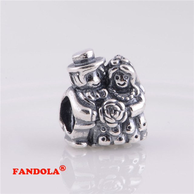 bfd0f0204 Fits Pandora Bracelet Bride and Groom Charm Beads Authentic 925 Sterling  Silver Charms for Women DIY Jewelry Gift LW210