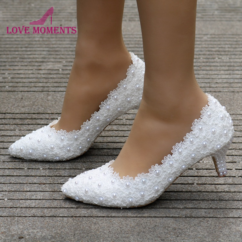 2 Inches Kitten Heel Girl Dress Shoes White Pink Lace Flower Party Prom Shoes Plus Size 10 Wedding Bridal Shoes Bridesmaid Shoes image