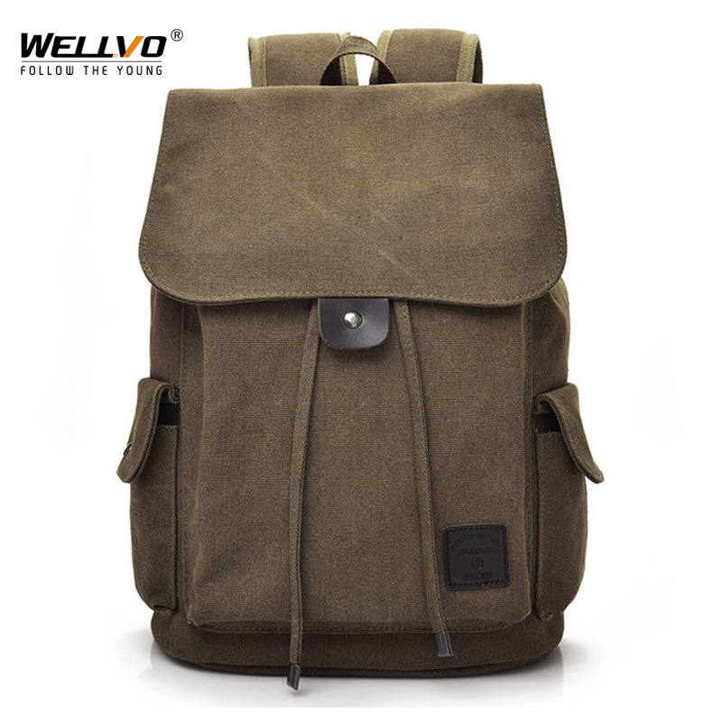 Canvas Backpack Drawstring Solid Color Army Bags Student School Bag Travel Tourist Bag Rucksack Mochila XA1972C
