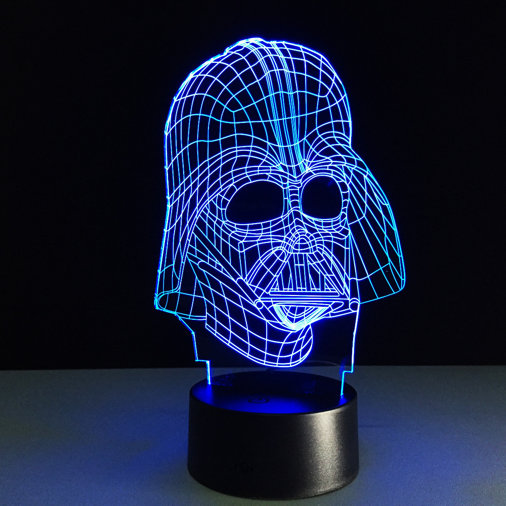 Creative Star Wars Illusion Night Light Darth Vader 3d Led Desk Lamp Bedroom Decor Lighting For