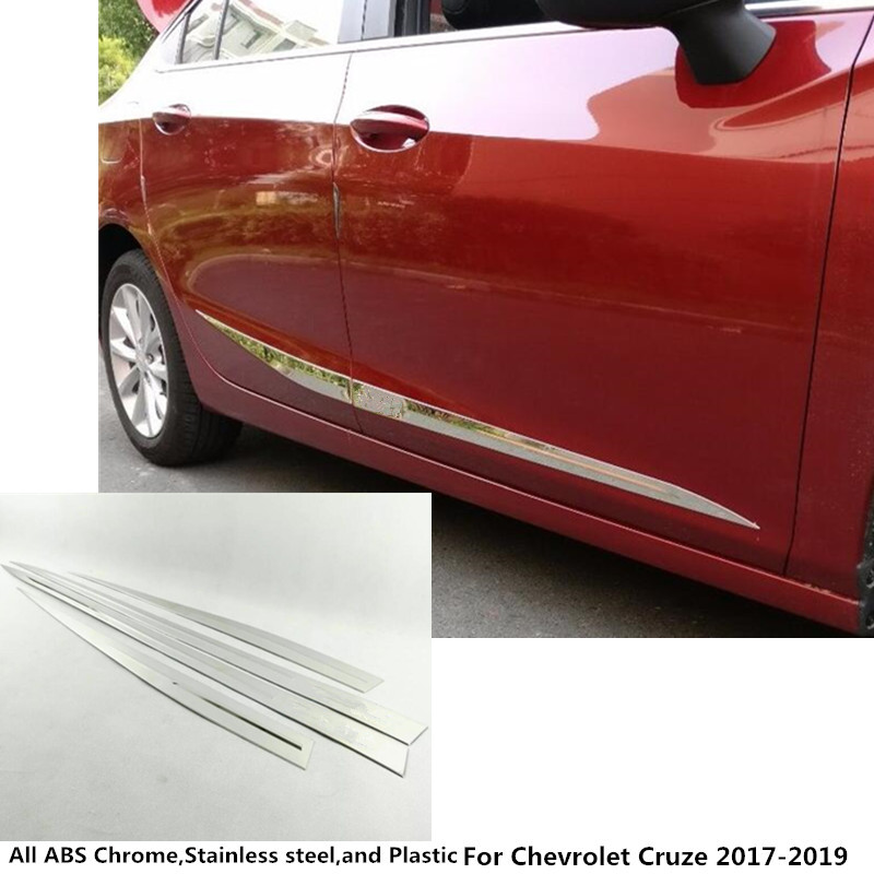 car styling body cover detector stainless steel Side Door Body trim stick Strip Molding 4pcs For Chevrolet Cruze 2017 2018 2019