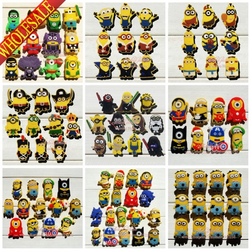Mixed 69 Models Minions Despicable me PVC shoe charms shoe decoration shoe accessories shoe with holes fit wristbands kids gift