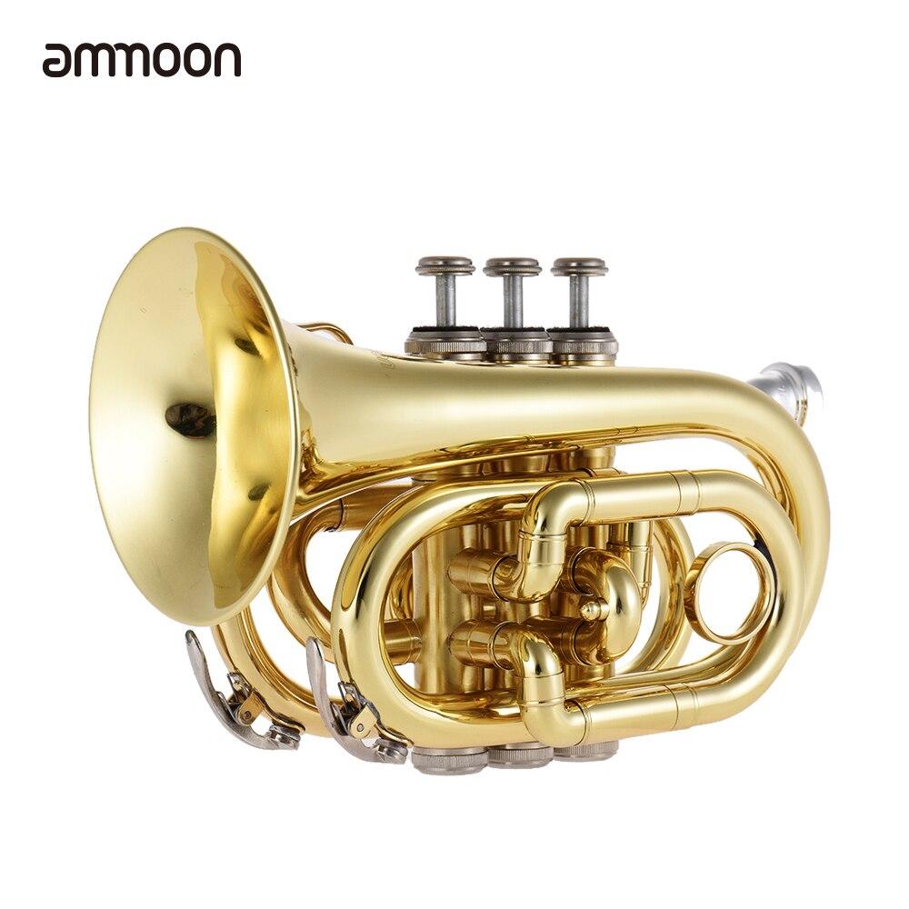 Ammoon Mini poche trompette Bb plat en laiton Instrument à vent avec embout gants chiffon de nettoyage étui de transport
