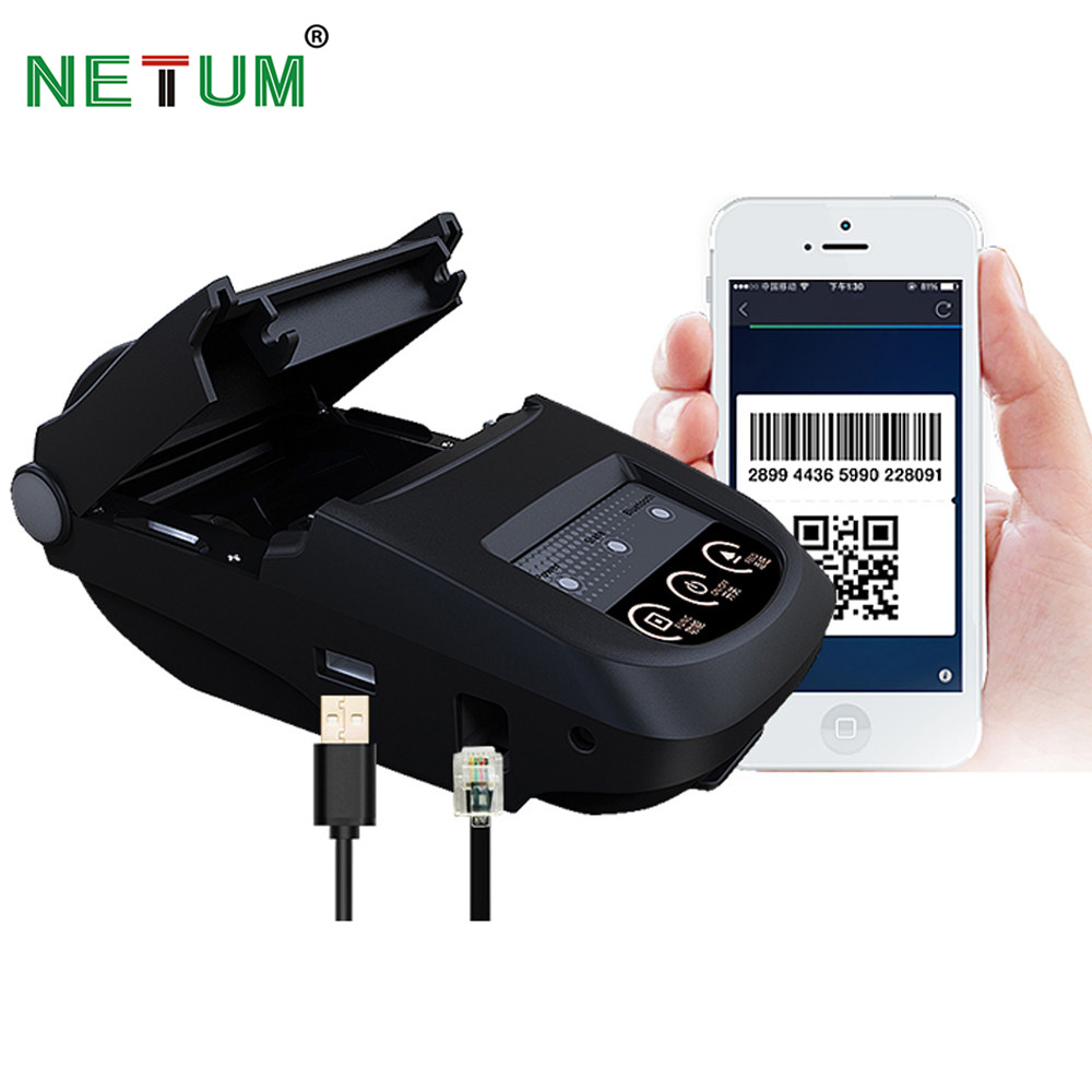 Portable 58mm Bluetooth Thermal Printer NT 1800 Mobie APP 2D QR Code Receipt Printer Support 9