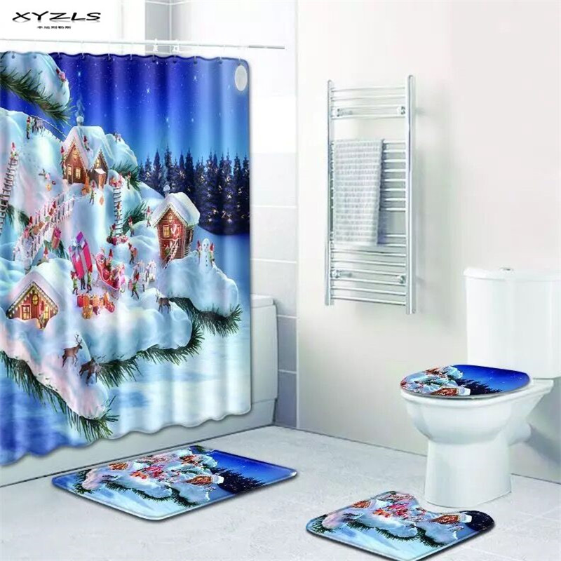 XYZLS Christmas Santa Claus Shower Curtain Set Polyester Waterproof Bath Curtain 180x180cm With Bathroom Mat Set