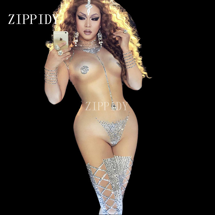 Sexy Striptease Dance Jumpsuit Sparkly Bodysuit Stage Wear Women's Celebrate Female Singer Crystals One Piece Costume Outfit