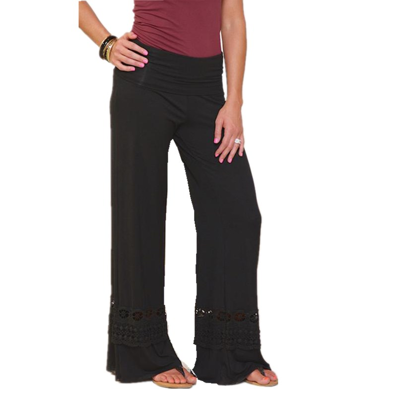 Women Wide Leg Pants Hollow Out Boho High Waist Palazzo Pants Casual Long Trousers Loose Culottes