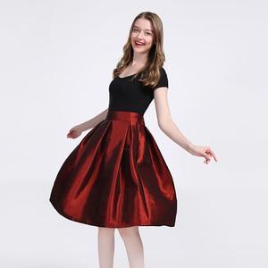 Image 4 - 2020 mode Lange Röcke Frauen Faldas Hohe Taille Gefaltete Womans Bodenlangen Rock Plus Größe Elastische Elegante Damen Jupe Röcke