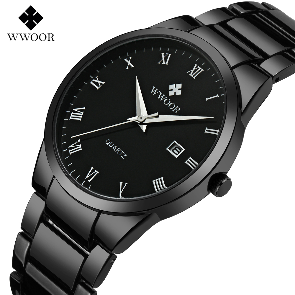 2018 WWOOR Brand Luxury Men Waterproof Sports Watches Men's Quartz Date Clock Male Black Stainless Steel Watch relogio masculino new men stainless steel gold watch luxury brand auto date mens quartz clock roman scale sports wrist watches relogio masculino