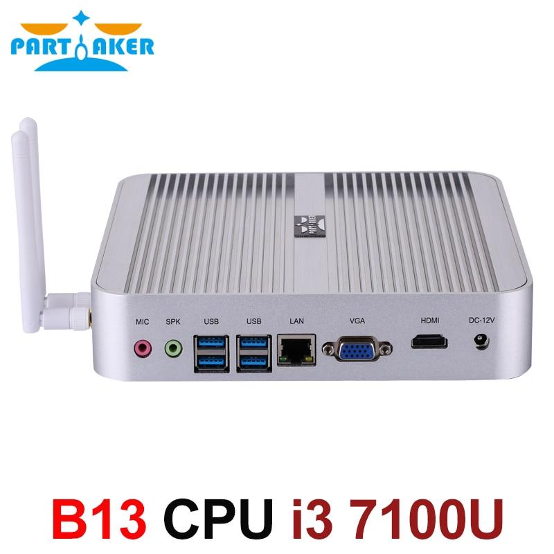 Partaker Mini Computer OEM Win10 Pro Intel Core I3 7100U Fanless Mini PC Barebone HTPC Minipc Nuc Graphics 620