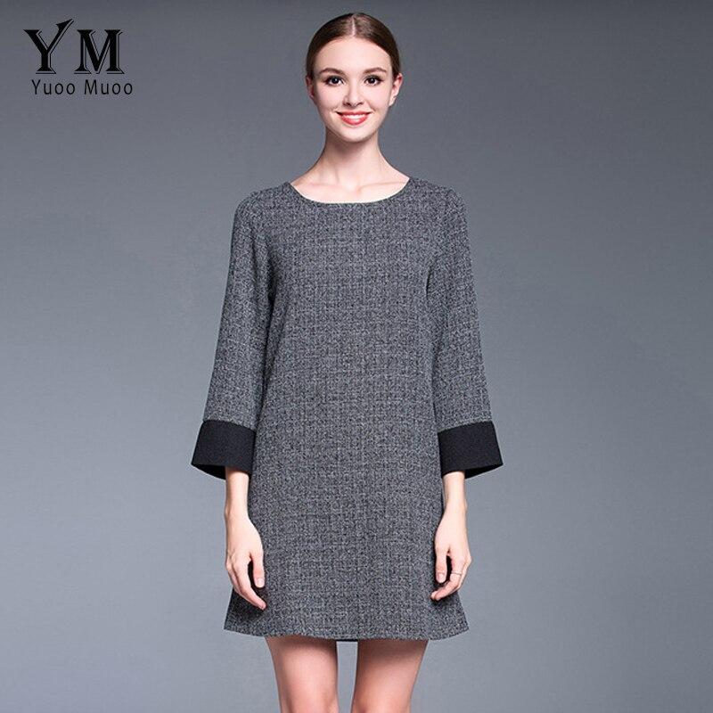YuooMuoo Nouveau Femmes Automne Mode Classique Plaid Grande Taille Gris  Casual Robe Européenne Élégant Vêtements Pour Femmes da19d1363227