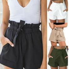 US Womens High Waist Tie Belt Paper Bag Shorts Ladies Summer Hot Pants Size 6-14