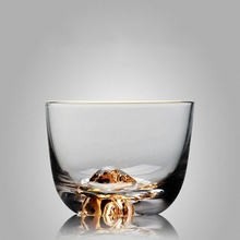 PINNY Heat Resistant Glass Tea Cup Borosilicate Transparent Teacup 24K Gold Insert In The Bottom Kung Fu Sets