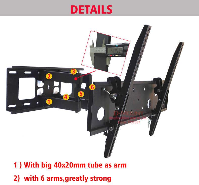 """DL-D-120MT العالمي المعادن 30 """"-65"""" 55 """"46"""" قابل للسحب الحركة الكاملة 60kg مفصلية 6 الأسلحة من قوس التلفزيون lcd دعم الرف"""