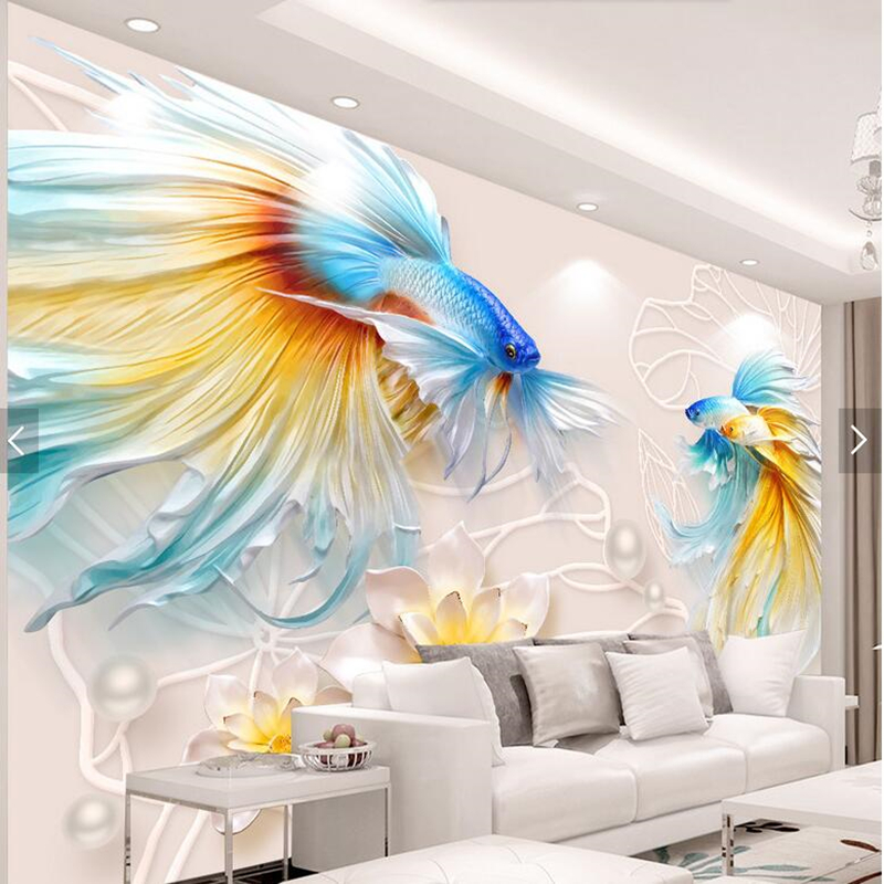 Custom 3d stereoscopic wallpaper, embossed goldfish lotus jewelry murals for living room bedroom tv background wallpaper 3d stereoscopic roman window balcony windows planet background 3d wallpaper murals living room bedroom study paper 3d wallpaper