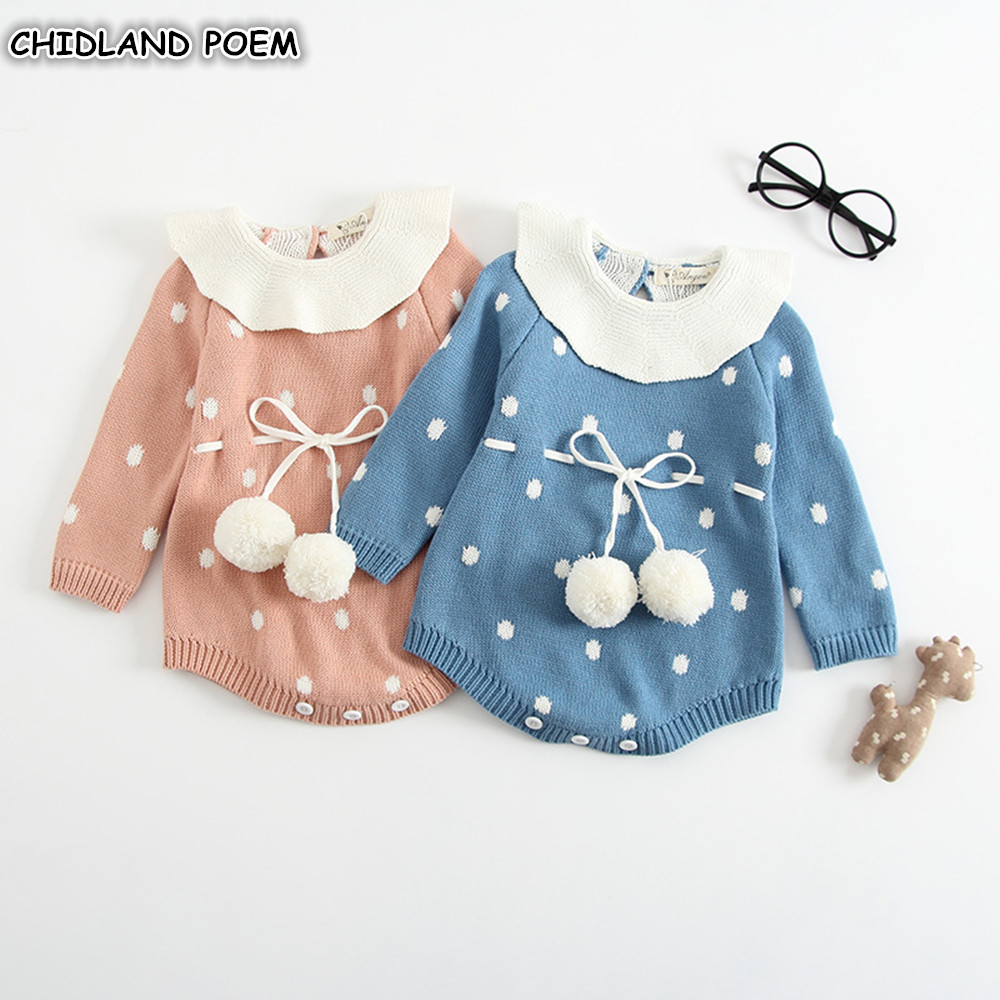 Baby Knitted Clothes Newborn Baby Girls Romper Long Sleeve Woolen Pompom Infant Jumpsuit For Girls Boys Overalls Clothes