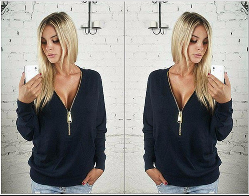 5pcs/lot Women Casual Ladies Sexy V-Neck Long Sleeve Hoodie Women Jumper Pullover Tops Solid Plus Sise Sweatershirt