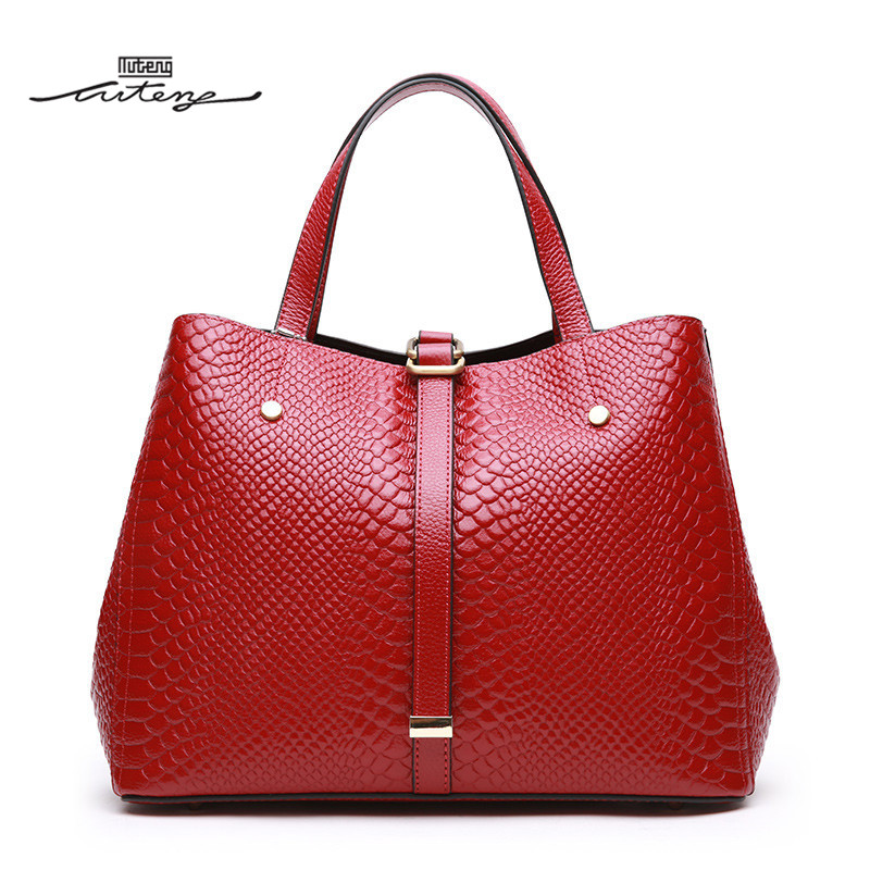TU-TENG 2018 Fashion Women Totes Handbag Female Genuine Leather Handbags Ladies Portable Shoulder Crossbody Bag Tote G77780