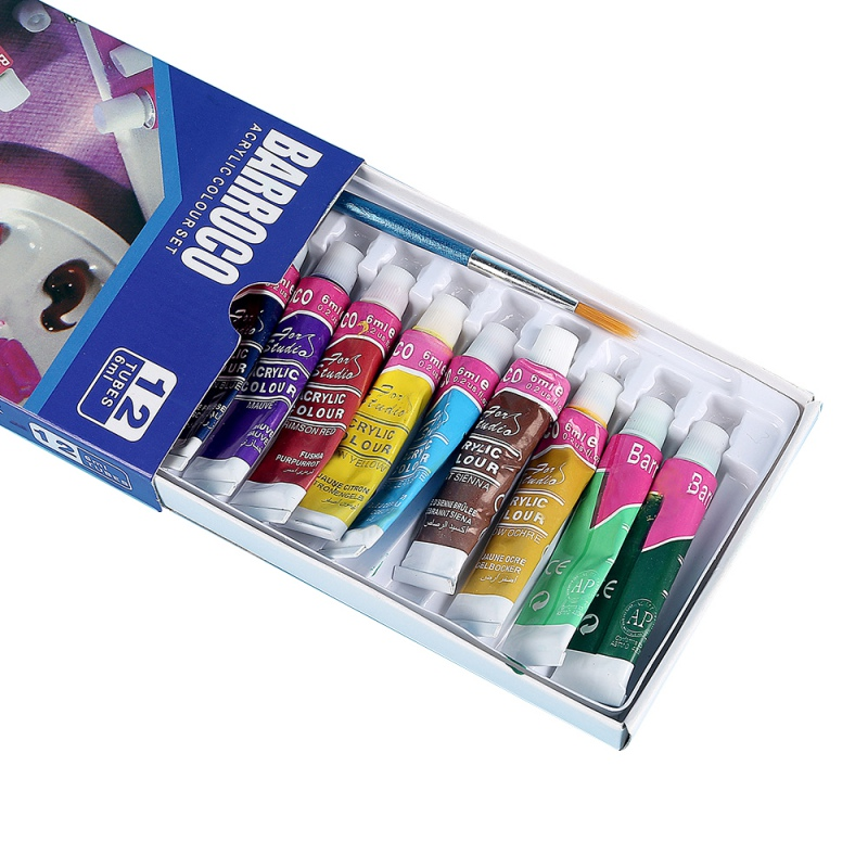 New 12 Colors Professional Acrylic Paints Set Hand Painted