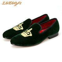 Embroidered Gold Crown Design Men Velvet Shoes Fashion Men Smoking Slippers Men Wedding And Party Shoes