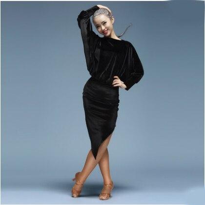 Robe de danse latine femmes Sexy soie velours salle de bal tango chemises jupe danskleding franjas roupas tanzrock latein porter des Costumes