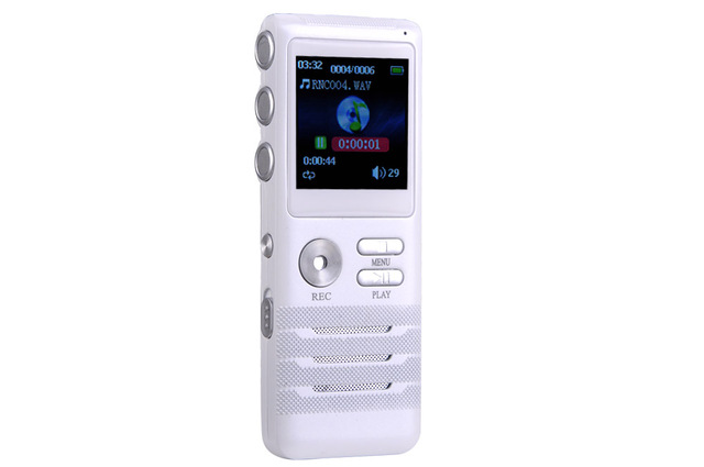 Mini Digital Voice Recorder 8GB Dictaphone Dual-core Stereo Noise Reduction Function White New High-Quality MP3 Player