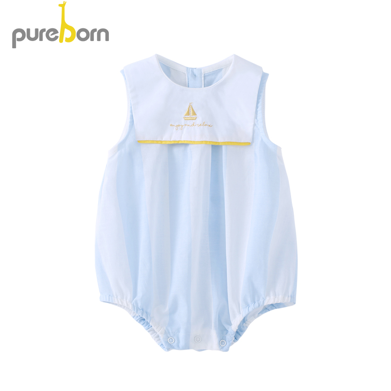 Pureborn Newborn Infant Baby Boys Girls Bodysuit Strip Muslin Cotton Embroidery Sailor Boat Sleeveless Summer Clothing