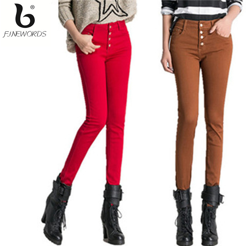 2016 Autumn Colored Skinny Jeans Woman High Waist Push Up Jeans American Brand Plus Size Denim Legging Pant Calca Jeans Feminina