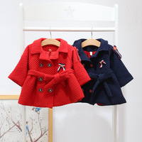 winter baby girls coat 2018 new infants jacket Double breasted navy windbreaker fashion belt baby coats and jackets for 0 2 age