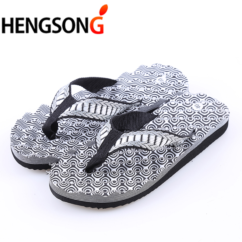 2018 Summer Beach Shoes Men's Slippers Sandals Fashion Totem Print Sandalias Men Flip Flops Outside Flat Shoes Black Brown