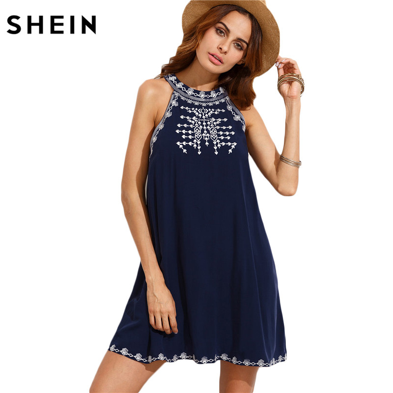 SHEIN Women Summer Casual Short Dresses Ladies Navy Embroidered Cut Out Tie Back Round Neck Sleeveless Shift Dress ...
