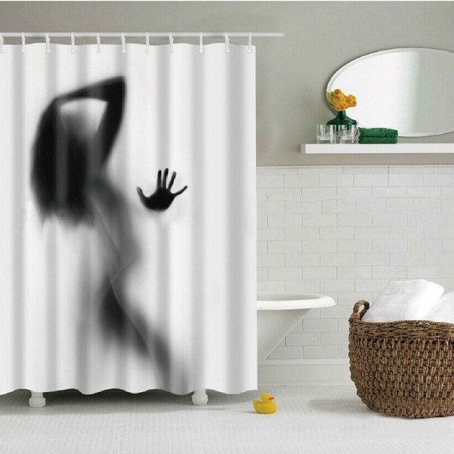 180180 Shower Curtains Shadow Beautiful Girl Bath Printing Curtain Waterproof Washable Thickened