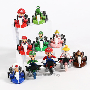 Image 4 - 10 Pcs/ set Anime Figura Super Mario Bros Kart Pull Back Car Cute PVC Action Figure Doll Collectible Model Baby Toy For Kids