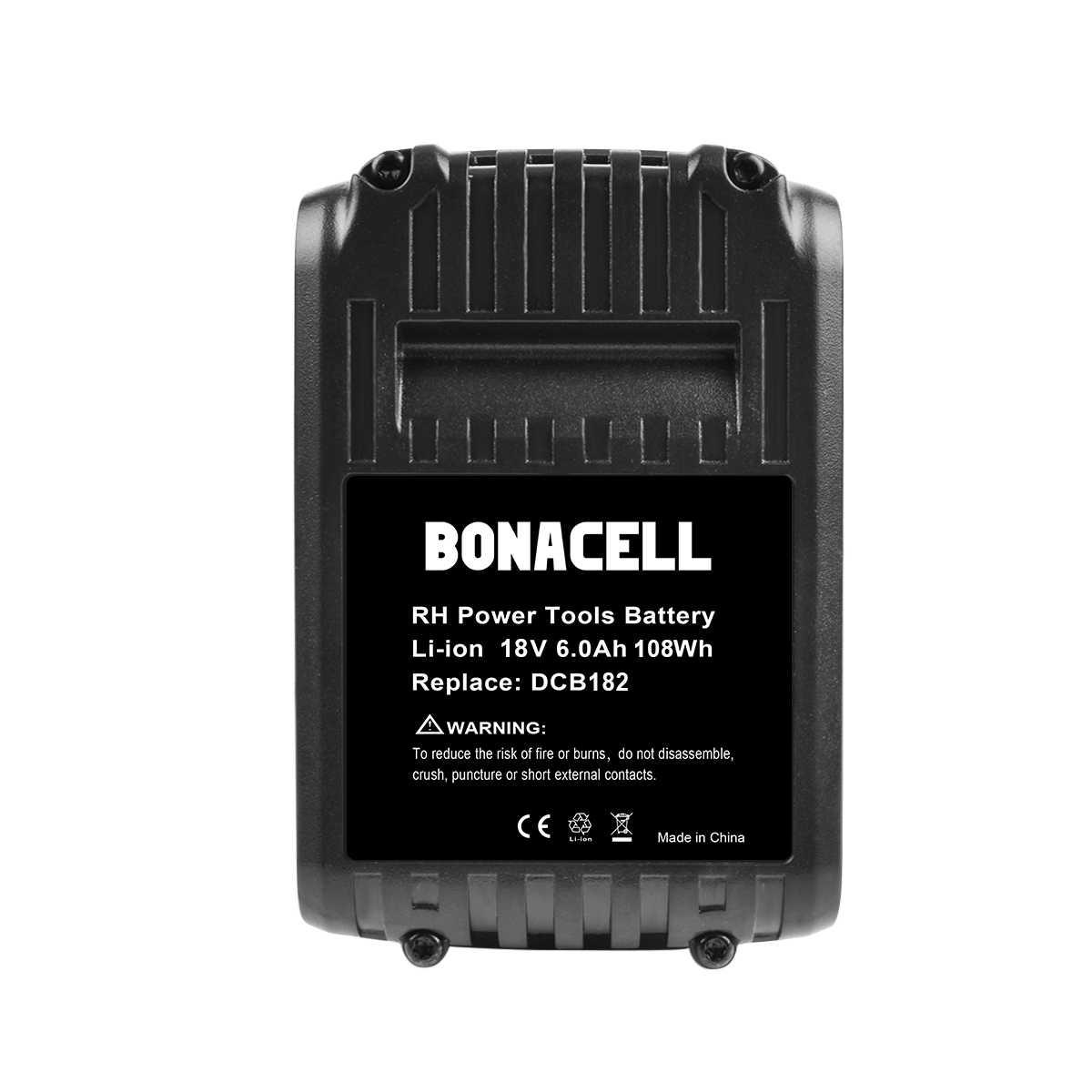 Bonacell 2pcs 6000mAh 18V Bateria Ferramenta de Poder para Dewalt DCB200 DCB181 DCB182 DCB204-2 DCB201 DCB201-2 DCB200 DCB200-2 DCB204-2