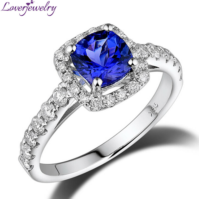 NEW Style Cushion 6mm 18Kt White Gold Natural Diamond Tanzanite Engagement Ring SR00234NEW Style Cushion 6mm 18Kt White Gold Natural Diamond Tanzanite Engagement Ring SR00234