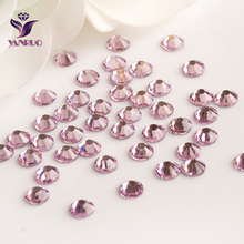 2058HF Light Rose Strass Hot Fix Rhinestone  All Sizes SS6-SS16-SS20 Heat Iron Flat Back rhinestones piedras y cristales