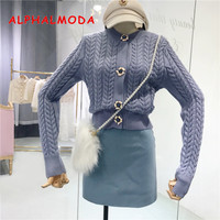 ALPHALMODA Studded Buttons Twisted Knitted Cardigans Women Autumn Winter Elegant Sweater Solid Quality Long sleeved Jumper