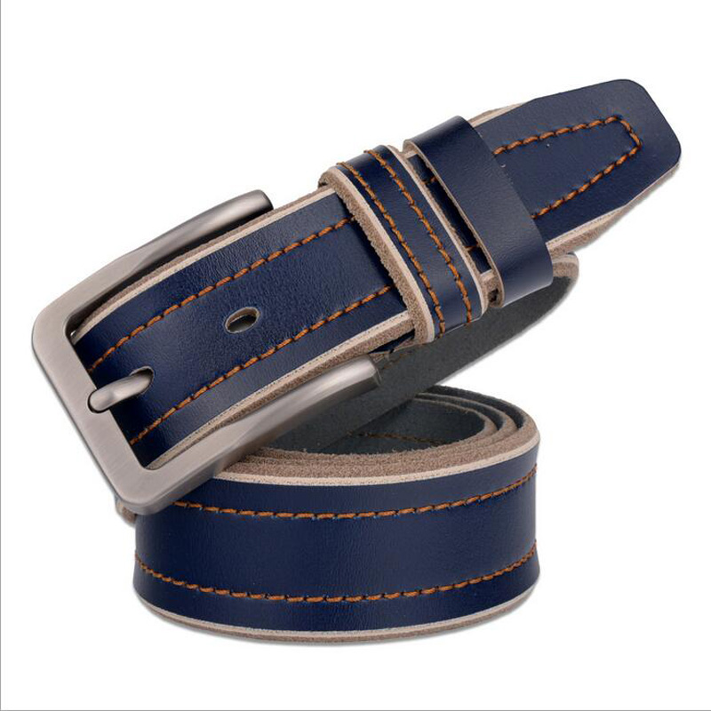 2017 Genuine Leather Pin Buckle Men Business Belt Cowskin Male Belts Black Coffee Red Blue Quality
