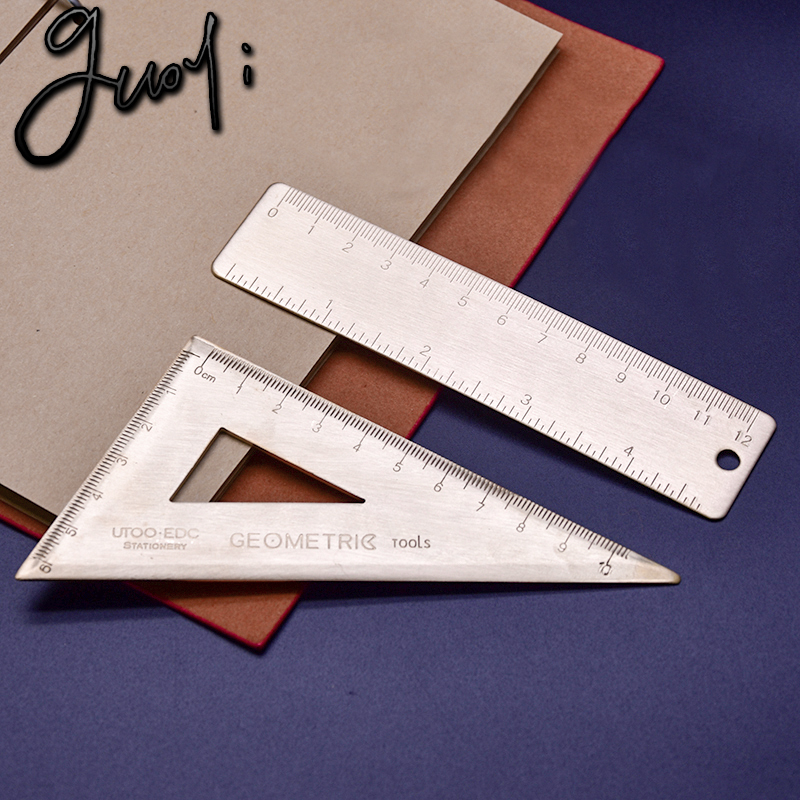 Guoyi Z020 Copper Triangle Ruler Flat Office & For School Supplies Educational Supplies Drafting Supplies Copper Rulers
